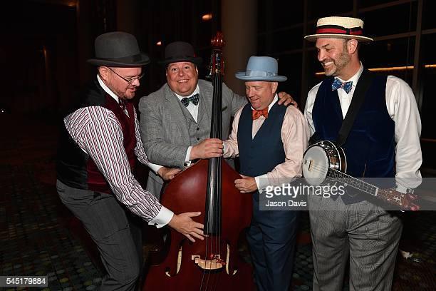 Quartet Singers Brad Hine Mark Shlinkert Jared Carlson and David Calland of Boardwalk attend a CD release party after the Youth Barbershop Quartet...