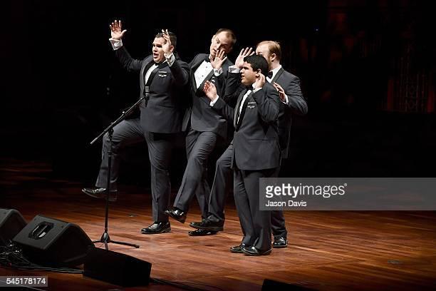 Quartet Singers Oscar Sotelo Daniel Huitt Cody Littlefield and Kyle Williamson of Flightline perform onstage during the Youth Barbershop Quartet...