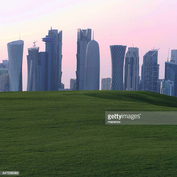 Quatar, Doha, Skyline viewed from park