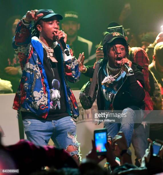 Quavo and Lil Uzi Vert Perform at the Migos In Concert at Center Stage on January 28 2017 in Atlanta Georgia
