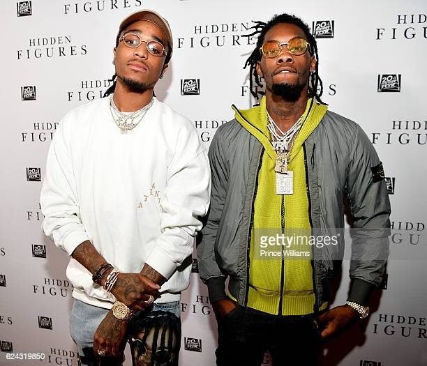 Quavo and Offset of the Group Migos attend the 'Hidden Figures' Soundtrack Listening Party on November 16 2016 in Atlanta Georgia