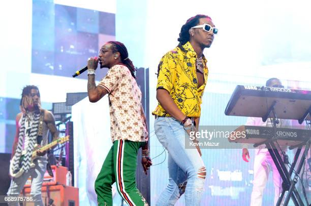 Quavo and Takeoff of Migos perform on the Coachella Stage during day 2 of the Coachella Valley Music And Arts Festival at the Empire Polo Club on...