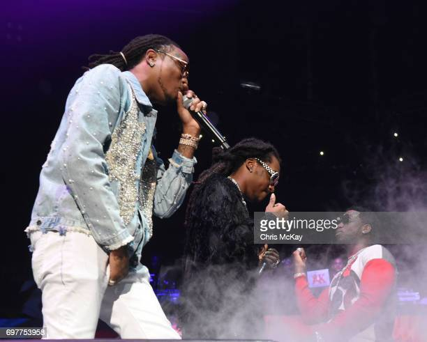 Quavo and Takeoff of Migos perform with Gucci Mane during the Hot 1079 Birthday Bash at Philips Arena on June 17 2017 in Atlanta Georgia