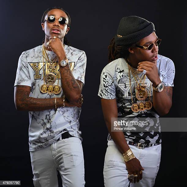 Quavo and Takeoff of the Group Migos attend at hot 1079 Birthday Bash 20 at Philips Arena on June 20 2015 in Atlanta Georgia
