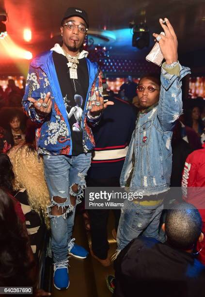 Quavo and Takeoff of the group Migos attend 'Culture' Album Release Party at Compound on January 29 2017 in Atlanta Georgia