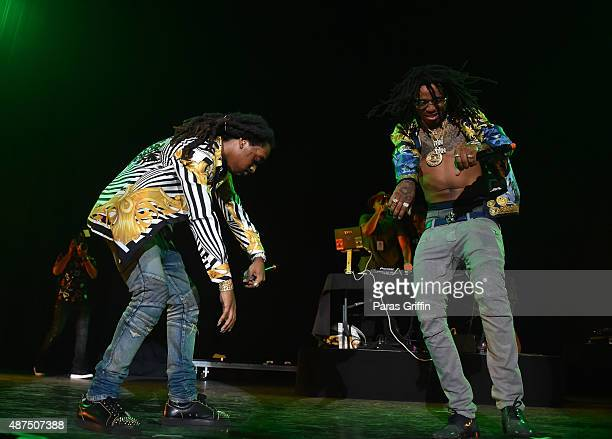 Quavo and Takeoff of the Migos performs in concert at Lakewood Amphitheater on September 5 2015 in Atlanta Georgia