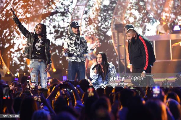 Quavo Chance the Rapper Demi Lovato and DJ Khaled perform onstage during the 2017 iHeartRadio Music Festival at TMobile Arena on September 23 2017 in...