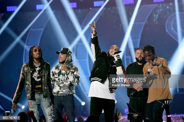 Quavo Chance the Rapper French Montana DJ Khaled and Travis Scott perform onstage during the 2017 iHeartRadio Music Festival at TMobile Arena on...