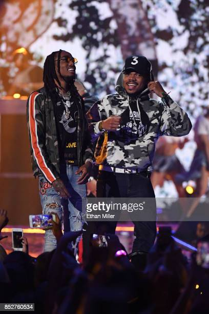 Quavo of Migos and Chance the Rapper perform onstage during the 2017 iHeartRadio Music Festival at TMobile Arena on September 23 2017 in Las Vegas...