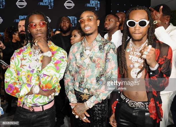 Quavo Offset and Takeoff of Migos attend the 2017 BET Awards at Microsoft Theater on June 25 2017 in Los Angeles California