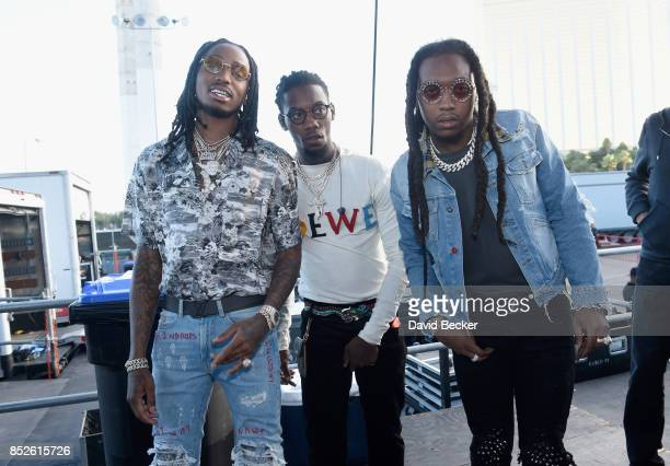 Quavo Offset and Takeoff of Migos backstage during the Daytime Village Presented by Capital One at the 2017 HeartRadio Music Festival at the Las...
