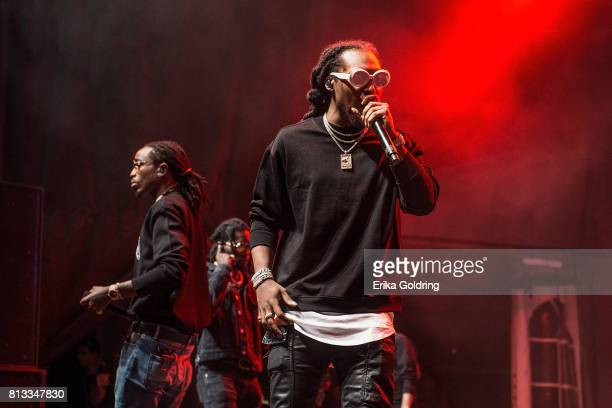 Quavo Offset and Takeoff of Migos perform during Festival d'ete de Quebec on July 11 2017 in Quebec City Canada