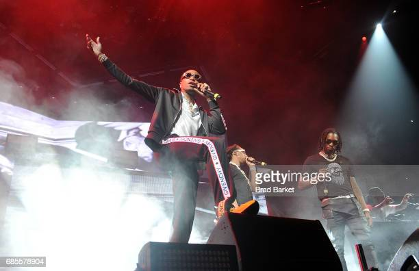Quavo Takeoff and Offset of Migos perform at Future In Concert Brooklyn New York at Barclays Center on May 19 2017 in New York City