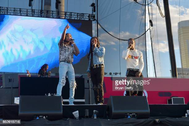 Quavo Takeoff and Offset of Migos perform onstage during the Daytime Village Presented by Capital One at the 2017 HeartRadio Music Festival at the...