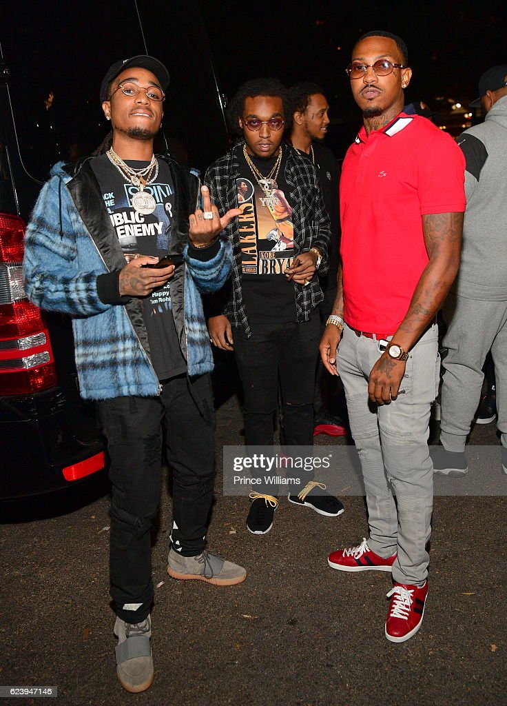 Quavo, Takeoff and Rapper Trouble Backstage at the PartyNextDoor and Jeremih: Summer's Over Tour at The Tabernacle on November 14, 2016 in Atlanta, Georgia..