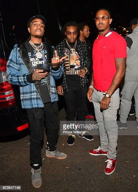 Quavo Takeoff and Rapper Trouble Backstage at the PartyNextDoor and Jeremih Summer's Over Tour at The Tabernacle on November 14 2016 in Atlanta...