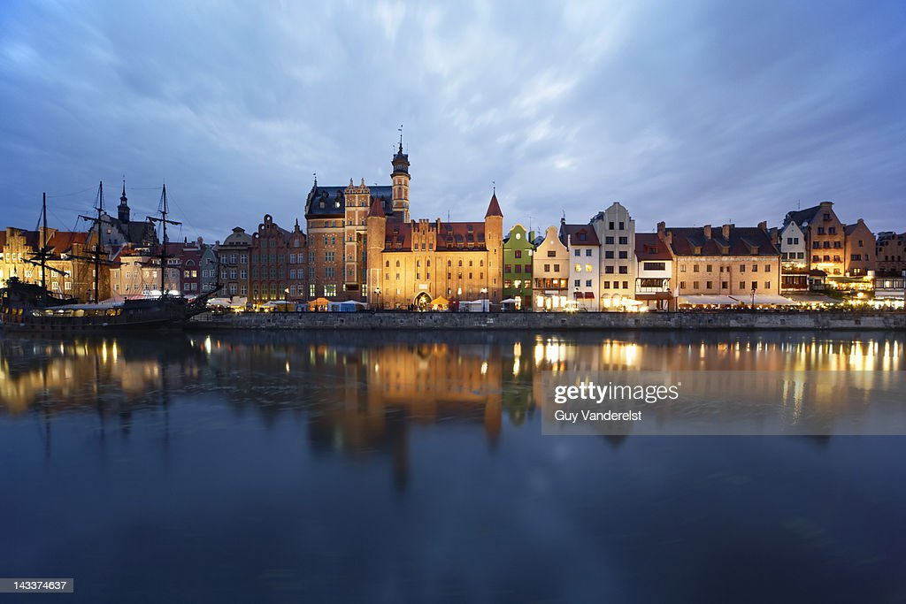 Quay at the old port of Gdansk at dusk : Stock Photo