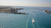 Kazakhstan. Aktau city. Mangistau. Caspian sea. Oil and gas industry.  Boats and naves in quay