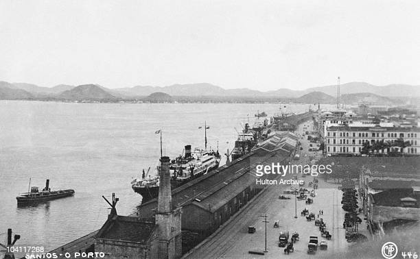 A view of the quayside in the port of Santos Sao Paulo Brazil circa 1930