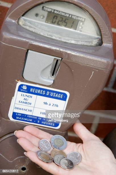 Quebec City Rue Saint Paul parking meter and Canadian coins