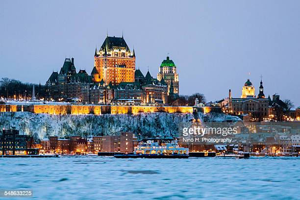 Quebec city skyline in Winter