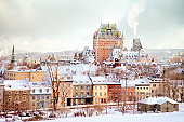 Quebec City Winter Skyline with Chateau Frontenac