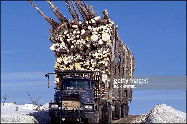 Quebec the 'iced' truckers of Saguenay In Quebec Canada In December 2000With 26 wheels for an overall length of 25 meters a width of 350 meters and a...