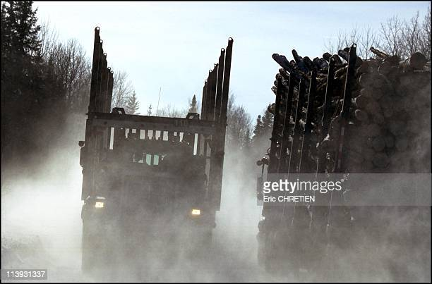 Quebec the 'iced' truckers of Saguenay In Quebec Canada In December 2000Whenever they come across another rig drivers get even more careful an extra...