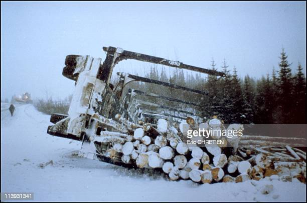 Quebec the 'iced' truckers of Saguenay In Quebec Canada In December 2000Every year sees a large number of accidents dozens of trucks flip over...