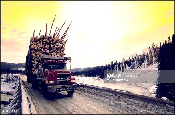 Quebec the 'iced' truckers of Saguenay In Quebec Canada In December 2000Until the late 1960's timber was floated to the sawmill down the Peribonka...