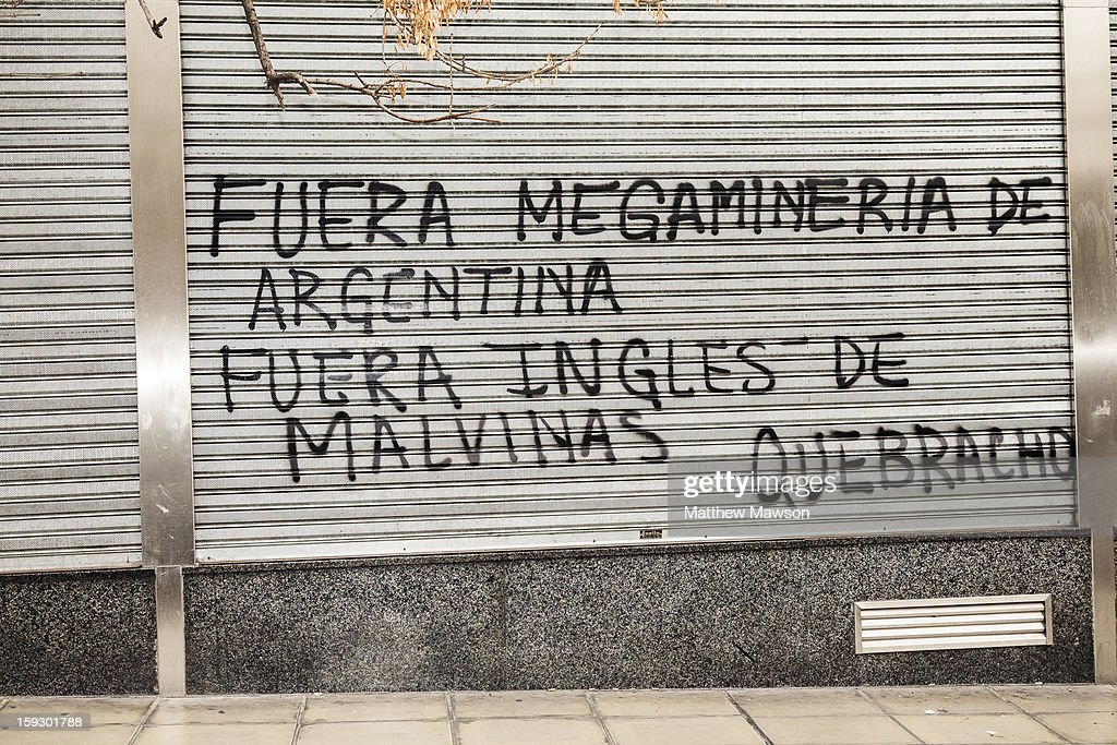 CONTENT] Quebracho, the Argentinian left wing group protesting with graffiti in Buenos Aires against the English 'occupation' of The Malvinas Islands or the Falklands Islands in the South Atlantic and protesting with graffit against foreign multinational companies mining gold, silver and uranium. The operations of which lead to pollution.