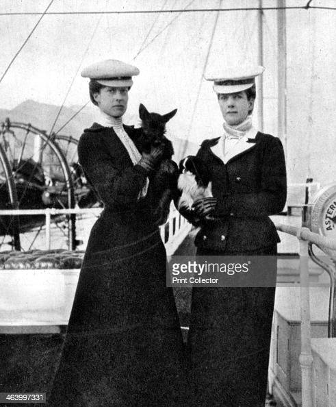 Queen Alexandra with her daughter Princess Victoria on board the royal yacht Victoria and Albert III 1908 From Queen Alexandra's Christmas Gift Book...