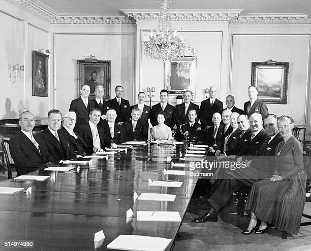 Queen and Privy Council Members Ottawa Ontario Canada Britain's Queen Elizabeth with Prince Philip alongside on her left meets with members of the...