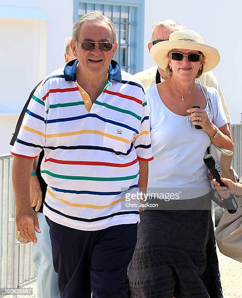 Queen Anne Marie Of Greece and King Constantine of Greece visit the Cathedral of Ayios Nikolaos before the ceremony on August 25 2010 in Spetses...