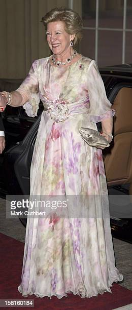 Queen Anne Marie Of Greece Arriving For A Dinner Hosted By Prince Charles Prince Of Wales And Camilla Duchess Of Cornwall For Foreign Sovereigns To...