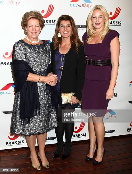 Queen AnneMarie of Greece actress Nia Vardalos and Princess Theodora of Greece and Denmark attend Philhellenes Gala at SkyBar at the Mondrian Los...