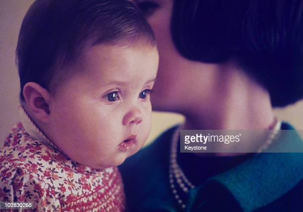 Queen AnneMarie of Greece and her daughter Princess Alexia of Greece at the Tatoi Palace in Athens Greece 1966