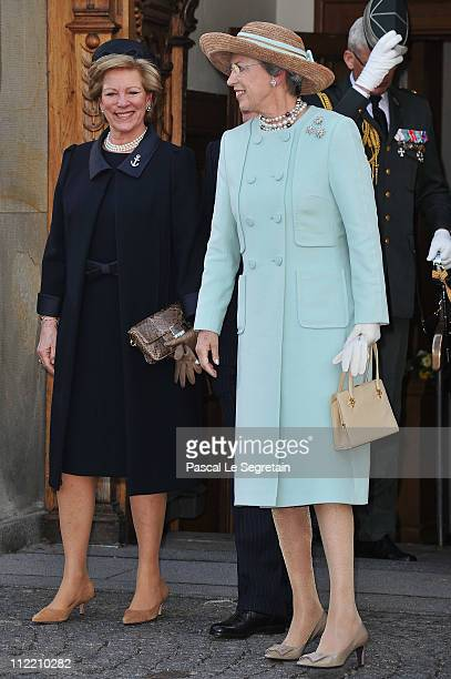Queen AnneMarie of Greece and Princess Benedikte of Denmark depart after the christening of Crown Prince Frederik 's twins at Holmens Kirke on April...