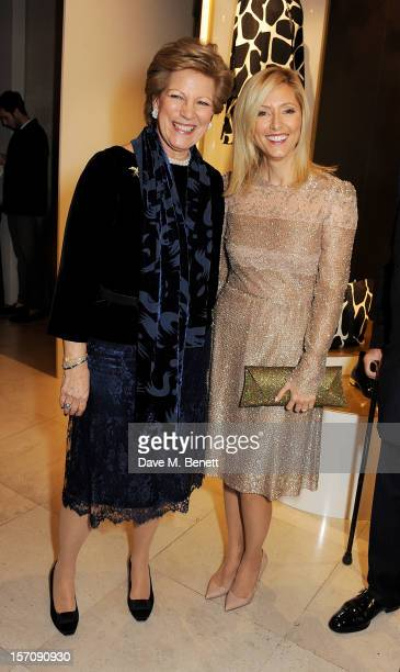 Queen AnneMarie of Greece and Princess Marie Chantal of Greece attend a private view of 'Valentino Master Of Couture' exhibiting from November 29th...