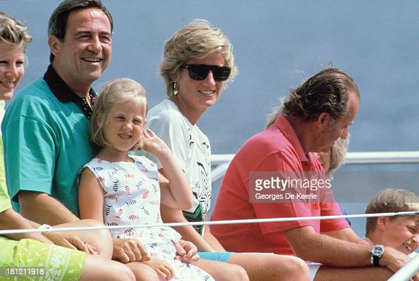 Queen AnneMarie of Greece King Constantine II of Greece Princess Theodora of Greece Diana Princess of Wales and King Juan Carlos of Spain on board...