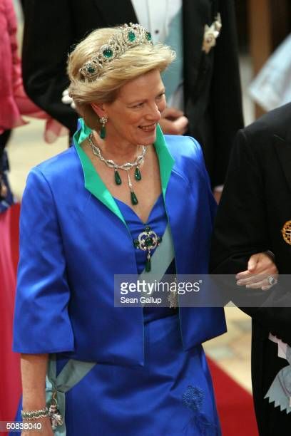 Queen AnneMarie sister of Danish Queen Margrethe II and her husband King Constantine of Greece attend the wedding of Danish Crown Prince Frederik and...