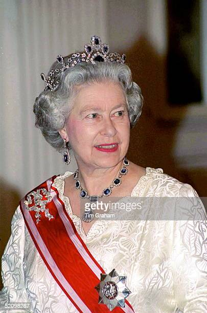 Queen At Banquet At Prague Castle During Her Visit To The Czech Republic