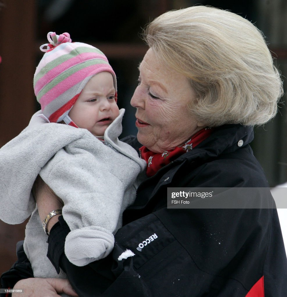 Queen Beatrix and Eloise during The Dutch Royal Family's Ski Holiday February 11 2007 in Lech Austria