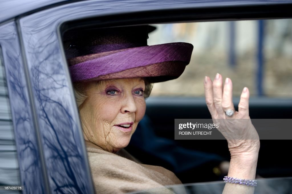 Queen Beatrix leaves after the opening of an attraction at the Arnhem Open Air Museum in Arnhem, The Netherlands on April 3, 20123. Buildings, like a post office and a cafe, from Amsterdams Jordaan district were rebuilt. The opening of the attraction is the start of the centenary celebrations of the museum. AFP PHOTO/ANP ROYAL IMAGES ROBIN UTRECHT netherlands out - belgium out