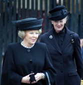 Queen Beatrix of Holland and Queen Margrethe II of Denmark at the funeral of Queen Elizabeth the Queen Mother at Westminster Abbey
