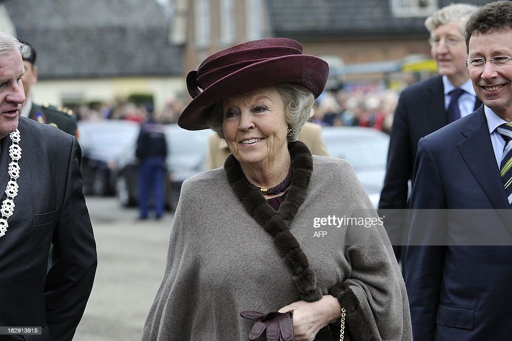 Queen Beatrix of Netherlands arrives to visit the Rural Youth Union Gelderland in Tolbeek, on March 1, 2013, to mark the one century anniversary of the union. ANP / netherlands out