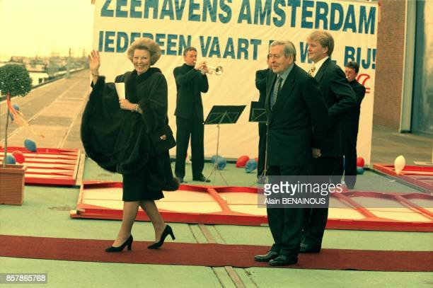 Queen Beatrix of Netherlands celebrates her 60th birthday with husband and son Princes Claus and Willem Alexander on January 31 1998 in Amsterdam...