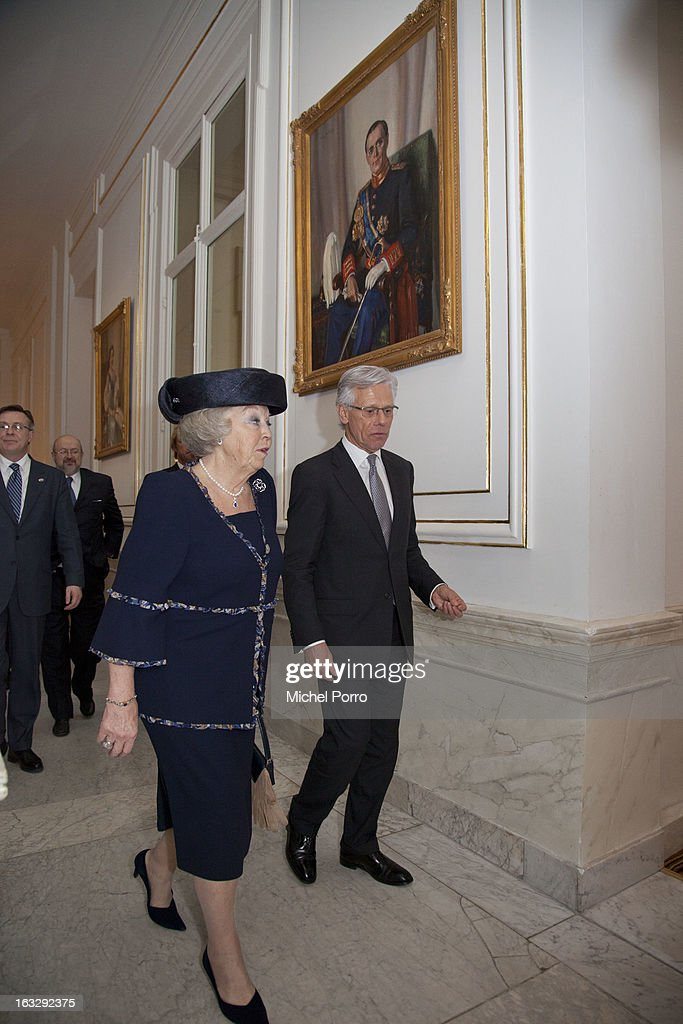 Queen Beatrix of The Netherlands and Knut Vollebaek attend the National Minorities conference on March 7, 2013 in The Hague, Netherlands.
