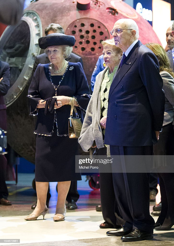 Queen <a gi-track='captionPersonalityLinkClicked' href=/galleries/search?phrase=Beatrix+of+the+Netherlands&family=editorial&specificpeople=92396 ng-click='$event.stopPropagation()'>Beatrix of the Netherlands</a> and President <a gi-track='captionPersonalityLinkClicked' href=/galleries/search?phrase=Giorgio+Napolitano&family=editorial&specificpeople=568986 ng-click='$event.stopPropagation()'>Giorgio Napolitano</a> of Italy visit The European Space Agency on October 24, 2012 in Noordwijk aan Zee, Netherlands.