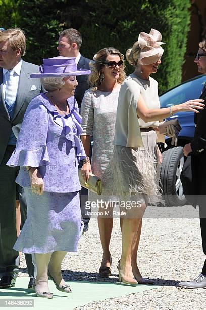 Queen Beatrix of the Netherlands and Princess Maxima of the Netherlands arrive for the Princess Carolina Church Wedding With Mr Albert Brenninkmeijer...